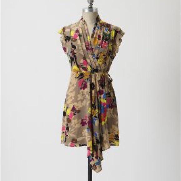 2447ccacdf09 Anthropologie Tops - Anthropologie Pinkerton Floral Silk Wrap Dress